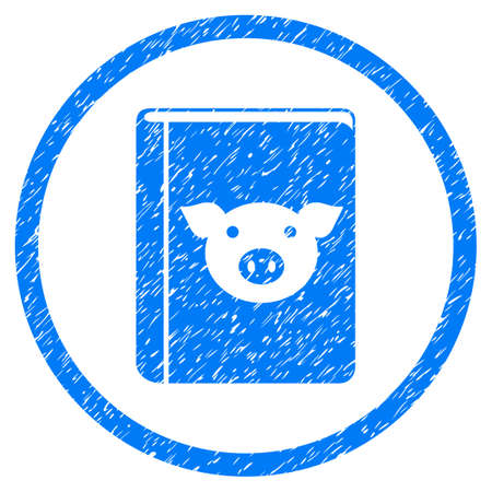 Pig Book grainy textured icon inside circle for overlay watermark stamps. Flat symbol with dust texture. Circled vector blue rubber seal stamp with grunge design. Illustration