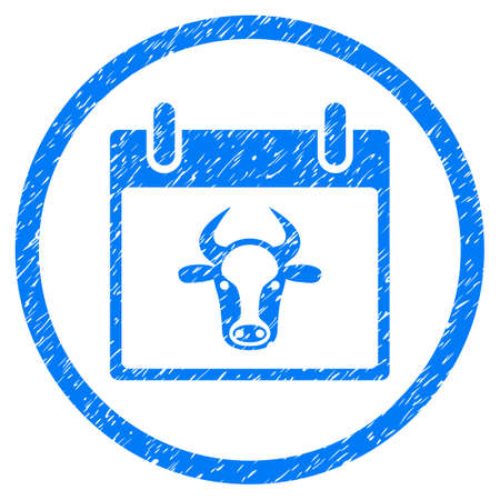 Cow Calendar Page grainy textured icon inside circle for overlay watermark stamps. Flat symbol with scratched texture. Circled vector blue rubber seal stamp with grunge design.