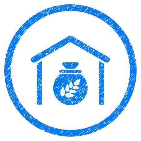 Grain Storage grainy textured icon inside circle for overlay watermark stamps. Flat symbol with dust texture. Circled vector blue rubber seal stamp with grunge design.