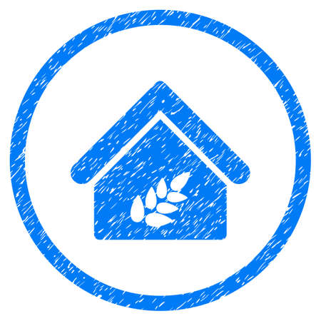 Grain Warehouse grainy textured icon inside circle for overlay watermark stamps. Flat symbol with dirty texture. Circled vector blue rubber seal stamp with grunge design. Illustration