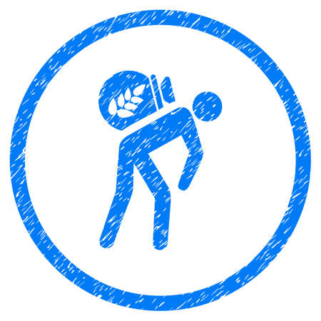 slavery: Harvest Porter grainy textured icon inside circle for overlay watermark stamps. Flat symbol with dirty texture. Circled vector blue rubber seal stamp with grunge design.
