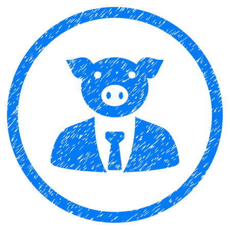 animal idiot: Pig Boss grainy textured icon inside circle for overlay watermark stamps. Flat symbol with unclean texture. Circled vector blue rubber seal stamp with grunge design.