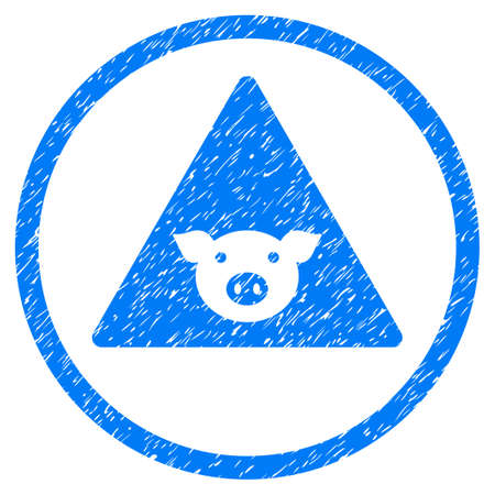 Pig Error grainy textured icon inside circle for overlay watermark stamps. Flat symbol with scratched texture. Circled vector blue rubber seal stamp with grunge design.