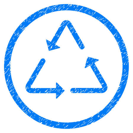 Recycling Triangle grainy textured icon inside circle for overlay watermark stamps. Flat symbol with unclean texture. Circled vector blue rubber seal stamp with grunge design.