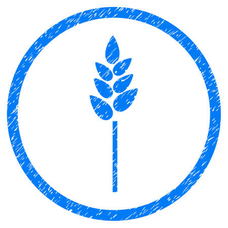 Wheat Ear grainy textured icon inside circle for overlay watermark stamps. Flat symbol with dust texture. Circled vector blue rubber seal stamp with grunge design.