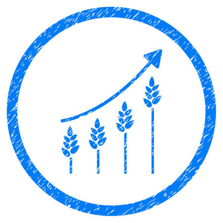 Wheat Growing Chart grainy textured icon inside circle for overlay watermark stamps. Flat symbol with dust texture. Circled vector blue rubber seal stamp with grunge design.