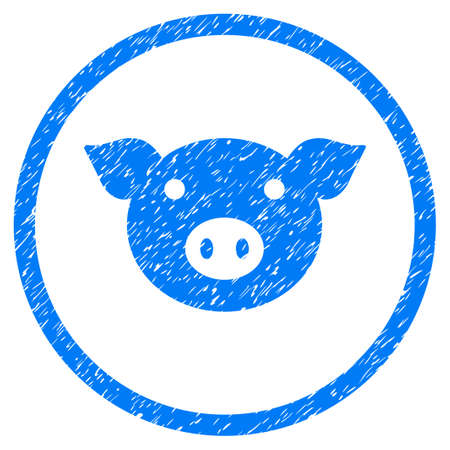 Pig Head grainy textured icon inside circle for overlay watermark stamps. Flat symbol with dust texture. Circled vector blue rubber seal stamp with grunge design.