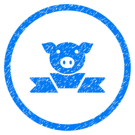 Pork Award Ribbon grainy textured icon inside circle for overlay watermark stamps. Flat symbol with dirty texture. Circled vector blue rubber seal stamp with grunge design. Illustration
