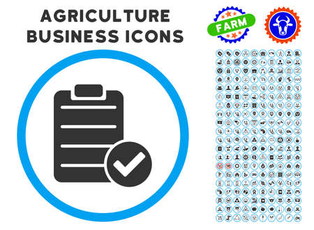 right choice: Approve List rounded icon with agriculture commercial glyph collection. Vector illustration style is a flat iconic symbol inside a circle, blue and gray colors.