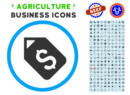 Bank Account Tag rounded icon with agriculture business icon set. Vector illustration style is a flat iconic symbol inside a circle, blue and gray colors. Designed for web and software interfaces.