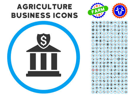 Bank rounded icon with agriculture commercial pictogram pack.