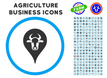 Cattle Marker rounded icon with agriculture commercial pictogram package.