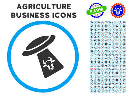 abduct: Cattle UFO Abduction rounded icon with agriculture commercial glyph collection. Illustration