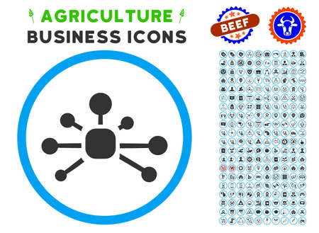 arts system: Connection Relations rounded icon with agriculture business icon set. Illustration