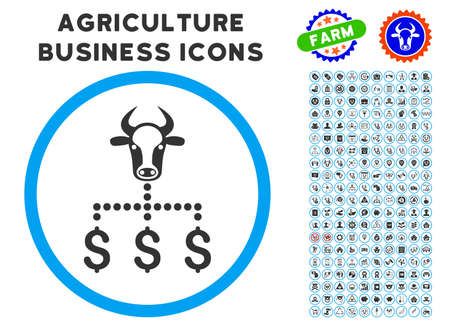 arts system: Cow Dollar Links rounded icon with agriculture commercial icon clip art.