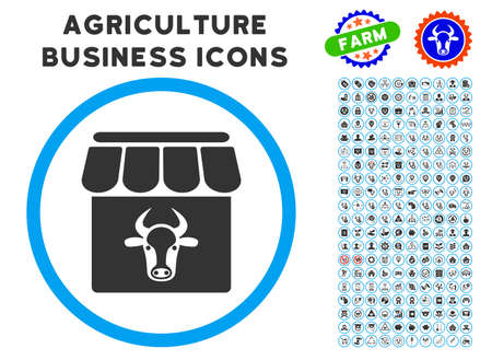Cow Farm rounded icon with agriculture business icon clip art. Vector illustration style is a flat iconic symbol inside a circle, blue and gray colors. Designed for web and software interfaces. Çizim