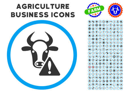 Cow Warning rounded icon with agriculture commercial glyph kit. Vector illustration style is a flat iconic symbol inside a circle, blue and gray colors. Designed for web and software interfaces. Illustration