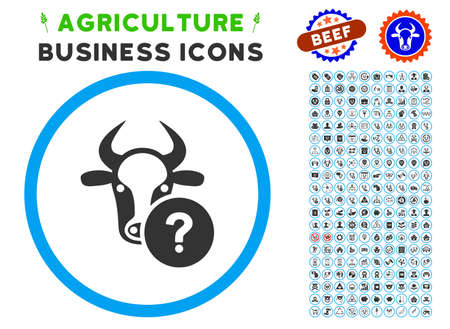 Cow Unknown Status rounded icon with agriculture commercial pictogram clip art. Vector illustration style is a flat iconic symbol inside a circle, blue and gray colors. 向量圖像