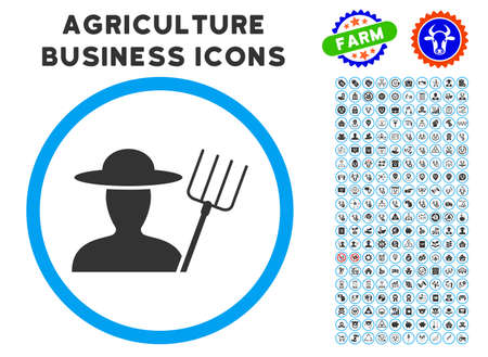 Farmer With Pitchfork rounded icon with agriculture business icon package.