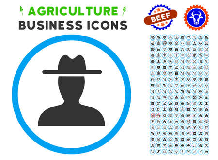 agronomist: Farmer rounded icon with agriculture commercial icon clipart. Illustration
