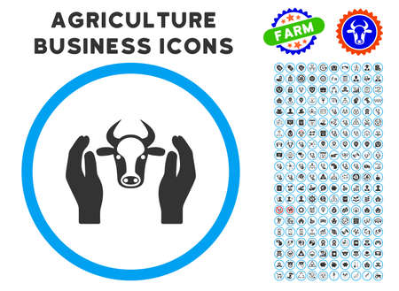 cattle guard: Cow Head Care Hands rounded icon with agriculture commercial glyph clip art. Vector illustration style is a flat iconic symbol inside a circle, blue and gray colors. Illustration