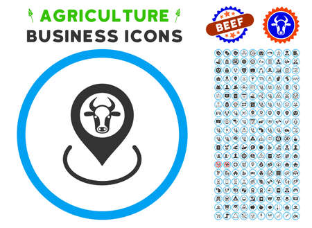 Cow Location rounded icon with agriculture business glyph pack. Vector illustration style is a flat iconic symbol inside a circle, blue and gray colors. Designed for web and software interfaces.