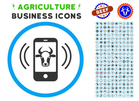 Cow Mobile Control rounded icon with agriculture commercial pictogram collection. Vector illustration style is a flat iconic symbol inside a circle, blue and gray colors.
