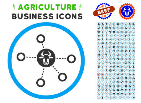 Cow Relations rounded icon with agriculture business pictogram collection. Vector illustration style is a flat iconic symbol inside a circle, blue and gray colors.