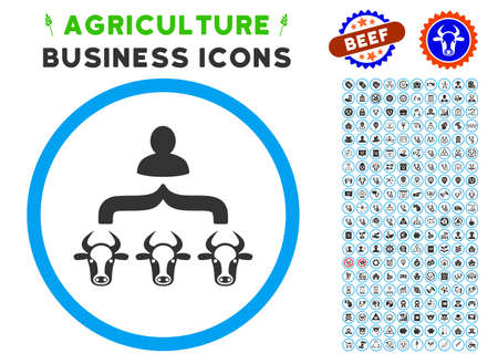 Cow Shepherd rounded icon with agriculture commercial pictogram set. Vector illustration style is a flat iconic symbol inside a circle, blue and gray colors. Designed for web and software interfaces. Illustration