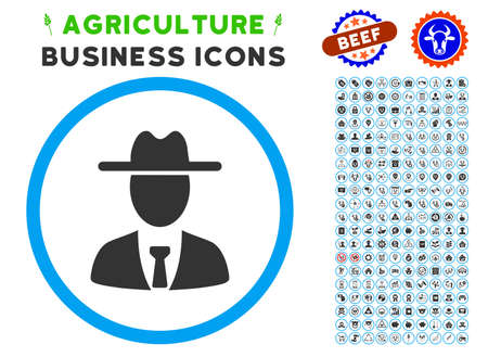 agronomist: Farmer Boss rounded icon with agriculture business icon clip art. Vector illustration style is a flat iconic symbol inside a circle, blue and gray colors. Designed for web and software interfaces.