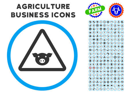 Pig Warning rounded icon with agriculture business icon package. Vector illustration style is a flat iconic symbol inside a circle, blue and gray colors. Designed for web and software interfaces.