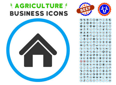 House rounded icon with agriculture commercial icon collection. Vector illustration style is a flat iconic symbol inside a circle, blue and gray colors. Designed for web and software interfaces. Illustration