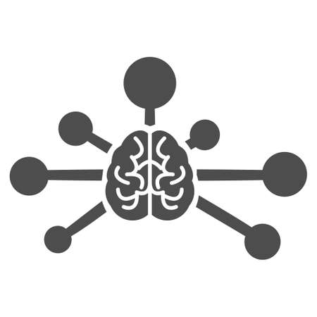 Mind Control Links raster pictogram. Illustration style is a flat iconic grey symbol on a white background.