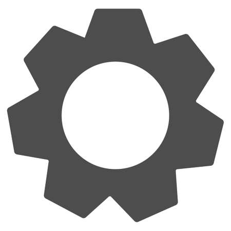 industrial machinery: Gear raster icon. Illustration style is a flat iconic grey symbol on a white background.