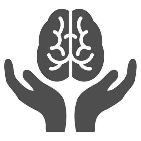 Brain Care Hands vector icon. Illustration style is a flat iconic grey symbol on a white background.