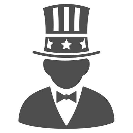 Pictograma de vector capitalista. El estilo de ilustración es un símbolo gris plano icónico sobre un fondo blanco.