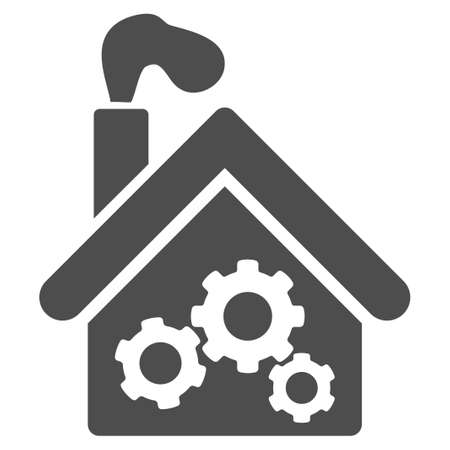 Smoking Garage Factory vector icon. Illustration style is a flat iconic grey symbol on a white background.
