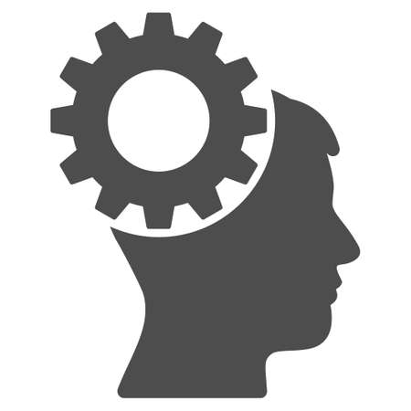 Thinking Gear raster icon. Illustration style is a flat iconic gray symbol on a white background. Фото со стока