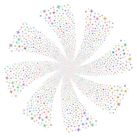 Air Drone fireworks swirl rotation. Vector illustration style is flat bright multicolored iconic symbols on a white background. Object flower combined from random design elements.