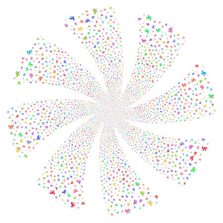 Antenna fireworks swirl rotation. Vector illustration style is flat bright multicolored iconic symbols on a white background. Object whirl organized from random design elements.