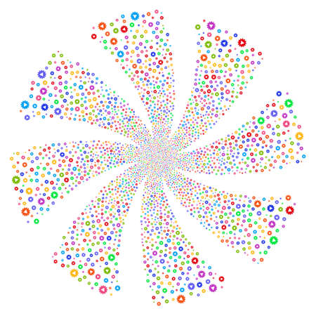 Automation fireworks swirl rotation. Vector illustration style is flat bright multicolored iconic symbols on a white background. Object whirlpool combined from random design elements. Illustration