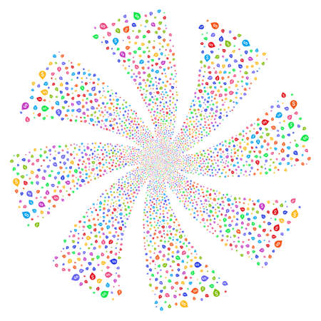 Banking Map Marker fireworks swirl rotation. Vector illustration style is flat bright multicolored iconic symbols on a white background. Object twirl done from random icons. Illustration