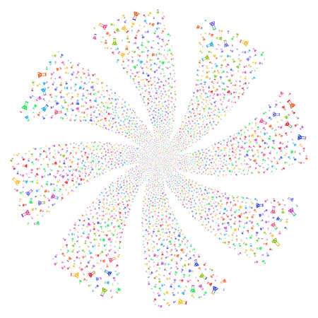Chemistry fireworks swirl rotation. Vector illustration style is flat bright multicolored iconic symbols on a white background. Object whirlpool done from random pictograms. Illustration