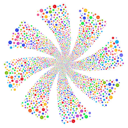 Clock fireworks swirl rotation. Vector illustration style is flat bright multicolored iconic symbols on a white background. Object whirlpool constructed from random symbols.