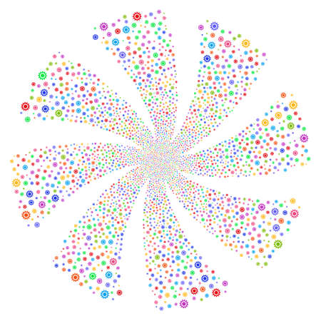 Cog fireworks swirl rotation. Vector illustration style is flat bright multicolored iconic symbols on a white background. Object spiral created from random design elements. Stock Vector - 76764897
