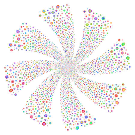 Cogwheel fireworks swirl rotation. Vector illustration style is flat bright multicolored iconic symbols on a white background. Object flower made from random pictographs.
