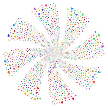 plugin: Component fireworks swirl rotation. Vector illustration style is flat bright multicolored iconic symbols on a white background. Object whirl created from random pictograms. Illustration