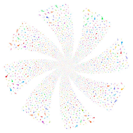 Confetti Stars fireworks swirl rotation. Vector illustration style is flat bright multicolored iconic symbols on a white background. Object twirl combined from random symbols.