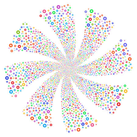 Create fireworks swirl rotation. Vector illustration style is flat bright multicolored iconic symbols on a white background. Object flower combined from random icons.