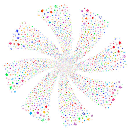 Decoration Stars fireworks swirl rotation. Vector illustration style is flat bright multicolored iconic symbols on a white background. Object flower created from random pictograms.